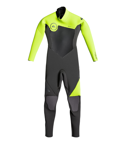 QUIKSILVER KIDS SYNCRO 3/2 BACKZIP GBS STEAMER - JET BLACK SAFETY YELLOW