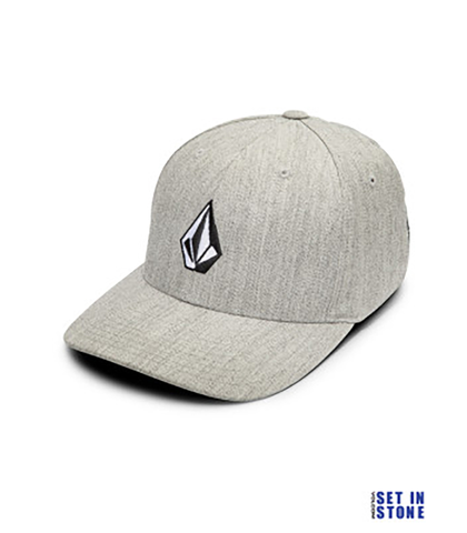 VOLCOM MENS FULL STONE HEATHER X FIT CAP - GREY VINTAGE