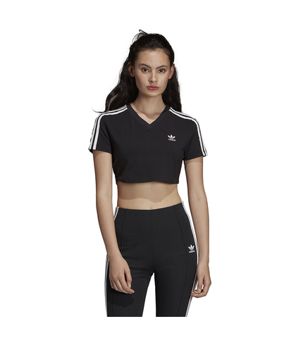 ADIDAS LADIES CROPPED TEE - BLACK / WHITE