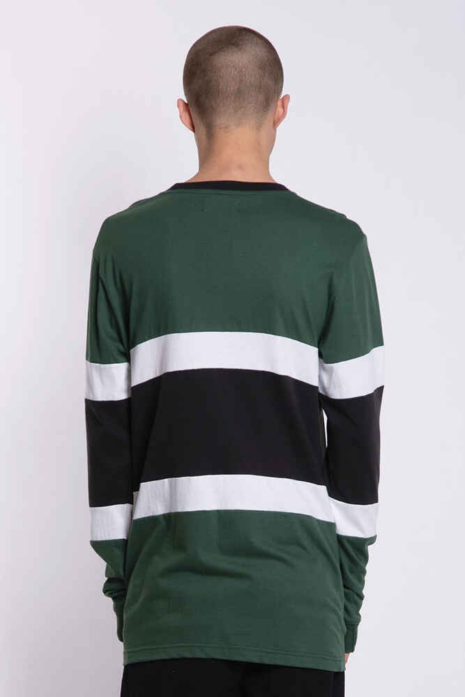 cd58f9d8db7d0 LOWER MENS PANEL L/S TEE - EXECUTIVE - GREEN/CHARCOAL - Mens-Tops : Sequence  Surf Shop - LOWER W19