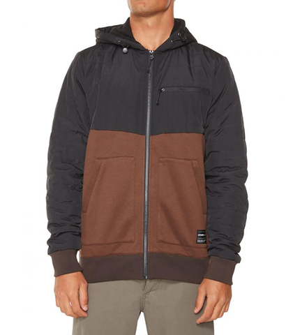 O'NEILL MENS QUADRA QUILTED SUPERFLEECE JACKET - BROWN / BLACK